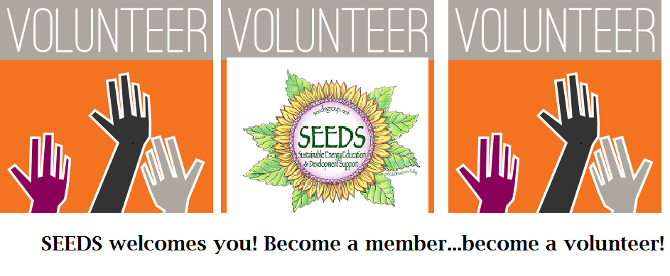 3 volunteers with SEEDS logo