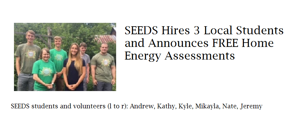 SEEDS hires students and announces free energy assessments