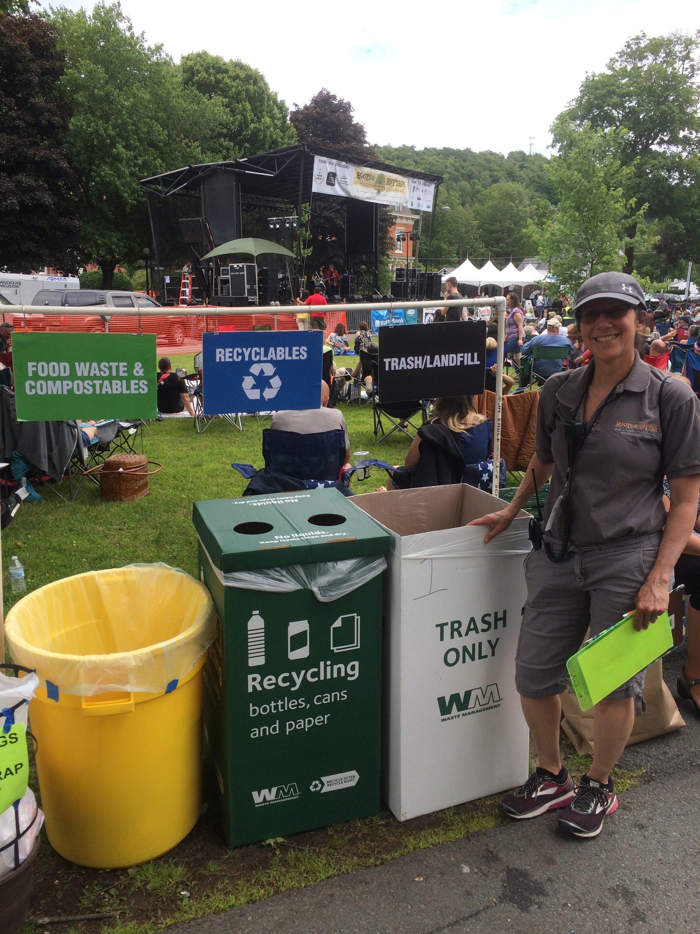 Photo of Cheryl Badner who is in charge of zero waste recycling at the Honesdale Roots & Rhythm Festival.